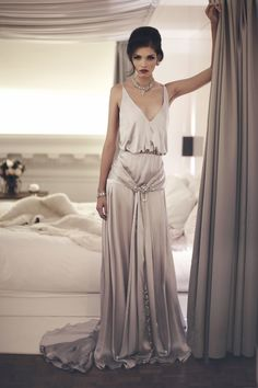 grey silk dress by The State Of Grace