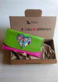 Billetera de Mujer, Cartera de Piel Fucsia, Cartera de Cuero con Corazon de Colores Pintado de JYNzapateros en Etsy