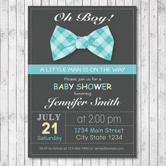 Bow tie Baby Shower Invitation Card  Blue  Boy  by funkymushrooms