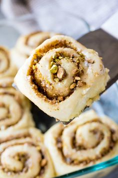 Baklava Cinnamon Rolls have all the flavors you love from traditional baklava wrapped up in a soft and gooey cinnamon roll. You'll love that pistachio nut filling and the lemon honey glaze. RECIPE HERE=> Pitaya, Brunch Recipes, Breakfast Recipes, Dessert Recipes, Breakfast Bites, Fudge, Graham, Best Cinnamon Rolls, Rolls Recipe
