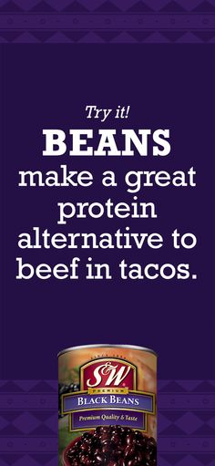 Keep a can of delicious beans on hand for taco night. Simmer beans in taco seasoning for a delicious meatless taco! #TacoNight #Hack