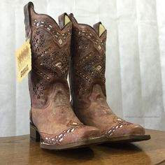 Corral Women's Brown Glitter Square Toe Cowgirl Boots A3120