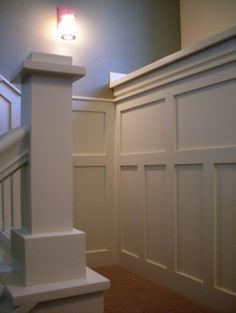 Wainscot?    (Traditional staircase by Bungalow House Plans)