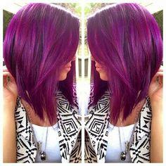 Short purple hair.