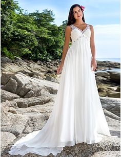 A-Line V Neck Chapel Train Chiffon Made-To-Measure Wedding Dresses with Beading / Sequin by LAN TING BRIDE® / See-Through