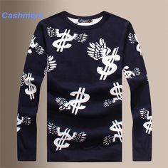 50be5cd913f581 Money Printing Cashmere Men Sweaters Fashion Crew Neck Pullover Autumn Wool  Knitted High End Sweater Men S 37 From Notwo