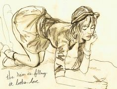 """'Girl kneeling doodling a sketch on the ground' - by Danny Roberts 