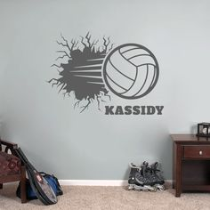 Custom Volleyball Breaking Wall - Wall Decals - Sweetums Wall Decals Personalized Wall Decals, Sports Decals, Volleyball, Your Space, Your Design, Kids Room, Cricut, Cool Stuff, Home Decor