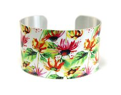 Cuff bracelet, feminine floral wide metal bangle with colourful flowers - C161 £19.50