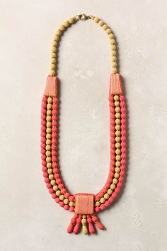 Pink, Coral and Pale Yellow necklace. Very large and in charge!