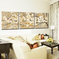 Modern+Floral+Wall+Clock+in+Canvas+3pcs+–+USD+$+69.99