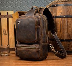 Casual Brown Mens Leather Large Sling Bag One Shoulder Pack Chest Bag Sling Backpack for men