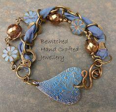 Jewelry Making Boho Sari Silk - Jewelry Ribbon Jewelry, Metal Jewelry, Boho Jewelry, Jewelry Crafts, Beaded Jewelry, Jewelry Design, Jewellery, Jewelry Ideas, Diy Bracelets Metal