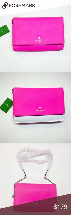 Authentic Kate Spade Charlotte street Alek HotPink Authentic Kate Spade Charlotte street Alek Hot Pink purse with strap( 2 inches gold chain on each side n rest is matching material to the purse). Chic with any dress or pant. kate spade Bags