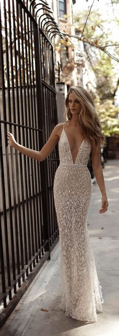 This @bertabridal wedding dress is pretty meets sexy - and we love it! Women, Men and Kids Outfit Ideas on our website at 7ootd.com #ootd #7ootd