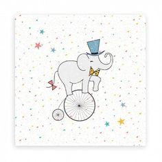 """Tableau éléphant """"Alfred l'équilibriste"""" 30x30, nanelle, cirque, circus, happy, collection smile"""