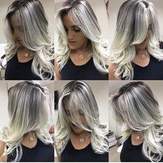 Image may contain: 1 person Pale Blonde Hair, Platinum Blonde Hair, Best Lace Front Wigs, Front Lace, Frosted Hair, Grey Hair Inspiration, Aveda Hair, Long Hair Wigs, Silver Grey Hair