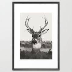 Whitetail Deer Black and White Double Exposure Framed Art Print