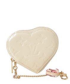 58e58b2819de LOUIS VUITTON Louis Vuitton White Monogram Vernis Leather Heart Coin Purse .   louisvuitton  bags  leather  wallet  accessories  lining