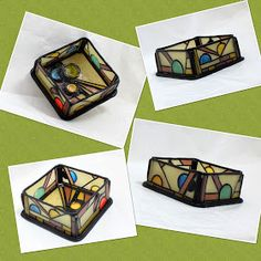 Faux stained glass box by Betsy Strebe, polymer clay.