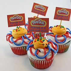 Play Doh party cupcakes