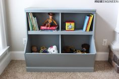 If you have kids then you know how important toy storage is. This wall unit now only gives you a ton of toy storage but it incorporates a book shelf for all those nighttime stories.  Check the extras tab for a PDF download of these plans and cut list.