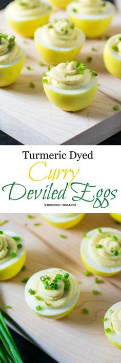 Turmeric Dyed Curry Deviled Eggs by Noshing With The Nolands are the perfect appetizer for any spring or summer occasion! They are just as easy to make as any other deviled egg!
