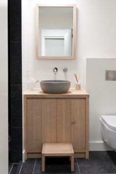Simple vertical  tongue and groove vanity