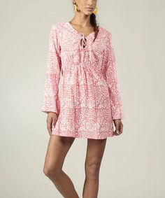 Love this Pink & White Floral Peasant Dress by Aller Simplement on #zulily! #zulilyfinds