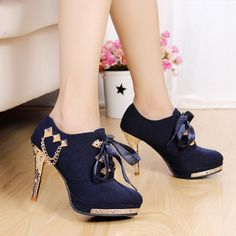 2013 Scarpin Sapatos Femininos British style fashion vintage blue pumps lacing thick heel high heel oxford shoes for women $41.73
