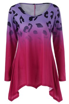 $18.76 Leopard Ombre Asymmetrical T-Shirt