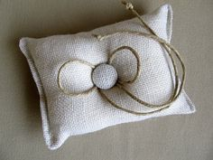White Burlap Ring Bearer's Pillow - what a cute country vintage idea