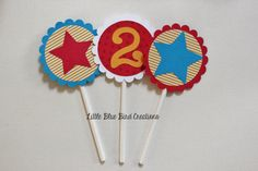 Cupcake Toppers  Birthday Party  Thomas by littlebluebirdcreate, $8.00 for 12
