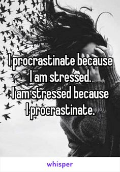 I procrastinate because I am stressed. I am stressed because I procrastinate. >>> Its a never ending cycle that it's impossibly hard to escape from Now Quotes, Funny Quotes, Funny Memes, Hilarious, Whisper Quotes, Whisper Confessions, Whisper App, Star Wars, Thing 1
