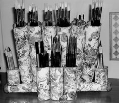 paper towel/tp rolls made into brush storage.  would be great for pencils and markers too.