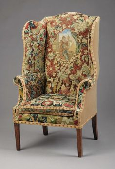 a george iii needlework upholstered wingback armchair unknown maker english late 18th century wood and