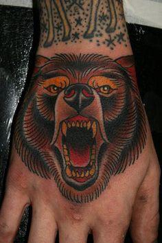 Bear tattoo. Traditional tattoo. Hand tattoo