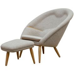 Nanna Ditzel, Oda Chair and Ottoman | From a unique collection of antique and modern armchairs at https://www.1stdibs.com/furniture/seating/armchairs/