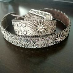 AB crystal belt Size small multi color Crystal belt. Made of genuine leather. Hardly used..great condition. BKE Accessories Belts