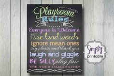 Rainbow Color Playroom Rules Print (Printable 11x14 Print)