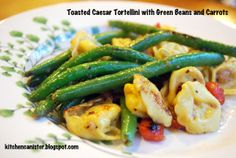 The Kitchen Canister: Toasted Caesar Tortellini with Green Beans and Carrots Snack Recipes, Healthy Recipes, Healthy Foods, Olive Oil Bread, Indian Kitchen, Kitchen Canisters, Kitchen Handles, Tortellini, Green Beans
