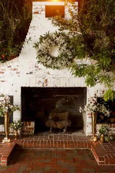 Pretty brick fireplace at the historic Peachtree House in Orlando, Florida // home + garden