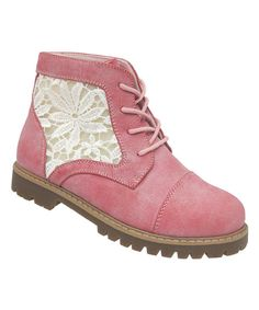 Look at this Yokids Pink Lace Gigi Boot on #zulily today!