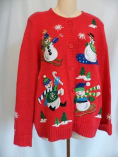 NWT ALFRED DUNNER black long sleeve w snowman /& snowflakes deco sweater,size L