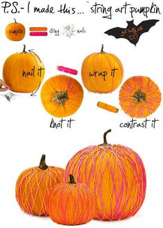 String Art Pumpkins | 39 Outside-The-Box Pumpkin Ideas