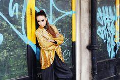 Sanna Naapuri Autumn/Winter Look 1: Details. Shamal print coat, Geo print shirt and wool trousers.
