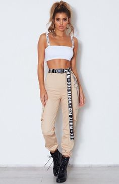 Rollin With My Homies Cargo Pants Beige Teenager Outfits Beige Cargo Homies pants Rollin Club Outfits For Women, Teenage Outfits, Sporty Outfits, Mode Outfits, Trendy Outfits, Girl Outfits, Pants For Women, Fashion Outfits, Clothes For Women