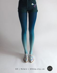 BZR Ombré tights in Mermaid by #BZRshop on #Etsy $40.00