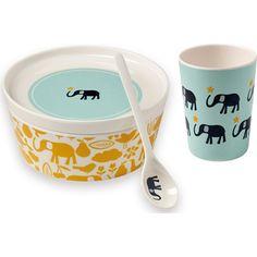 Ce joli set à tout le nécessaire pour les premiers repas de votre enfant.