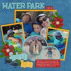 Water Park scrapbook layout -- red flower on dark blue background